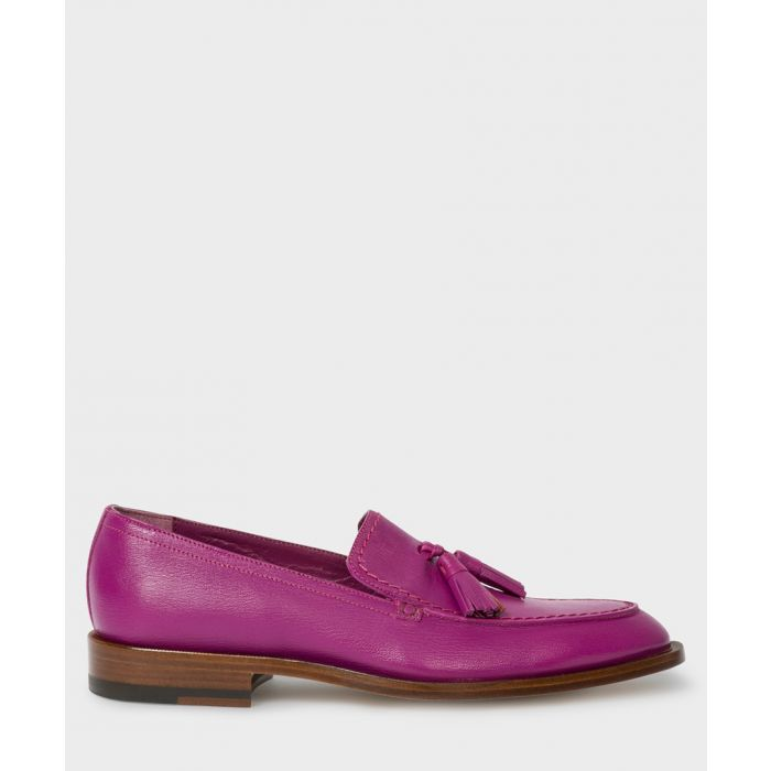 Image for Purple leather tassel loafers