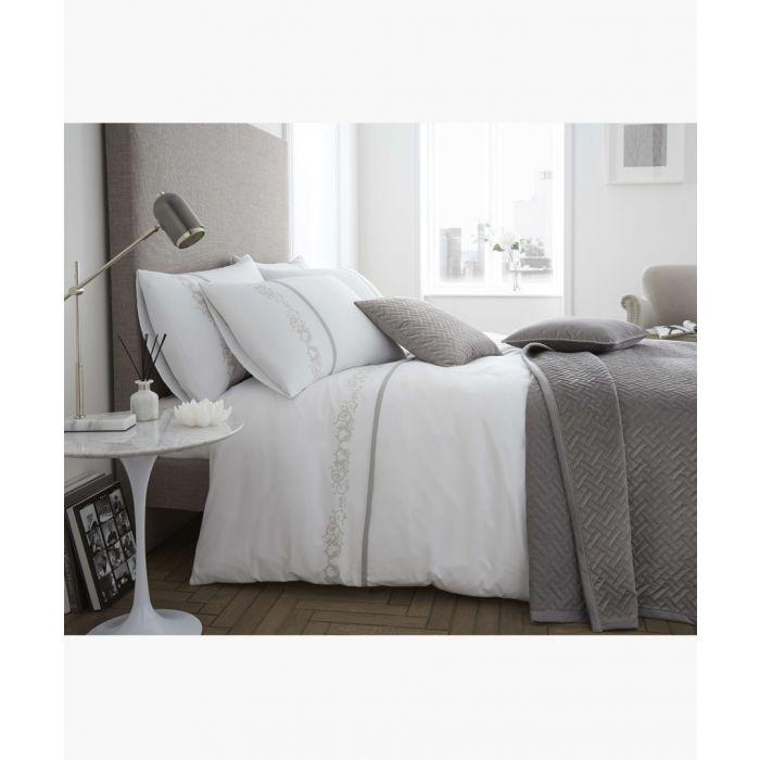 Image for Louisa white cotton single duvet set