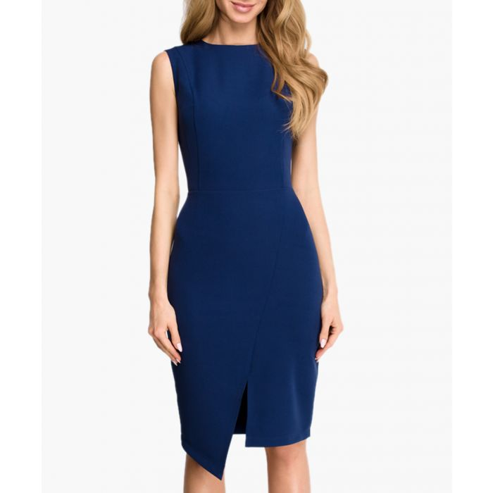 Image for Navy blue asymmetric hem fitted dress