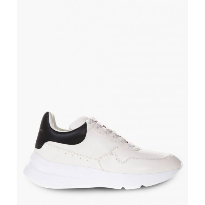 Image for White leather oversize sole runner trainers