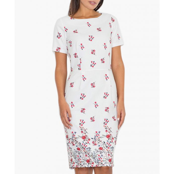 Image for White & red floral print dress