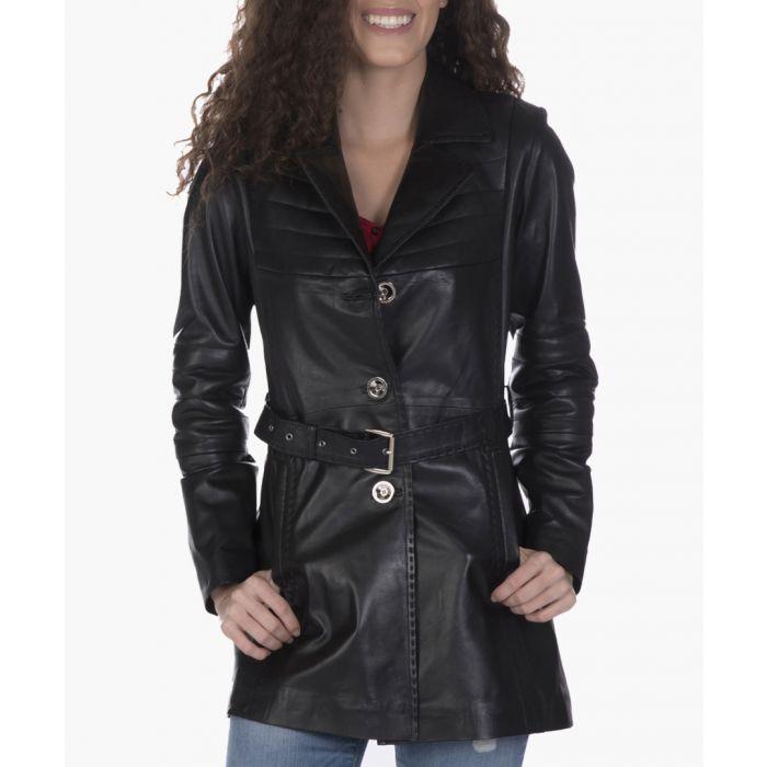 Image for Black leather belted coat
