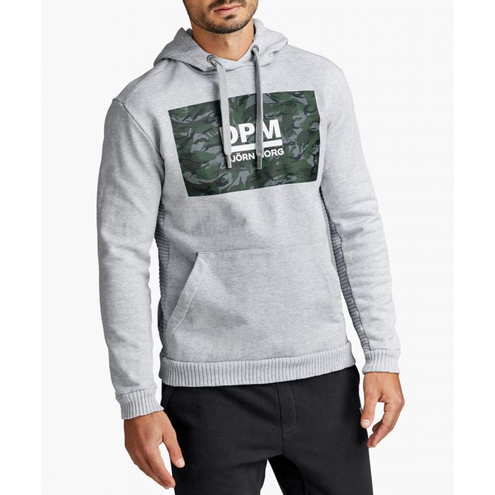 Image for Grey cotton blend graphic print hoodie