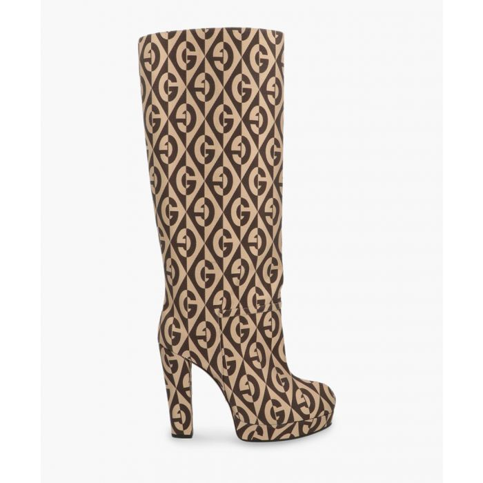 Image for Britney logo print knee-high boots 95mm