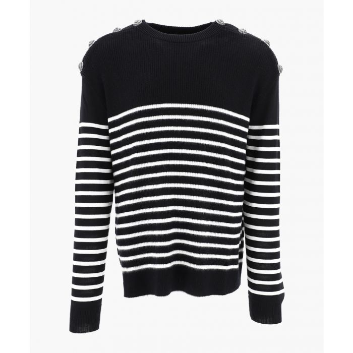 Image for Black and white wool breton stripe jumper