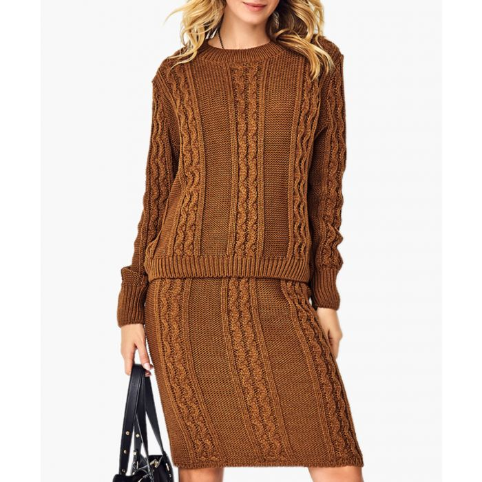 Image for Brown knitted sweater and skirt set