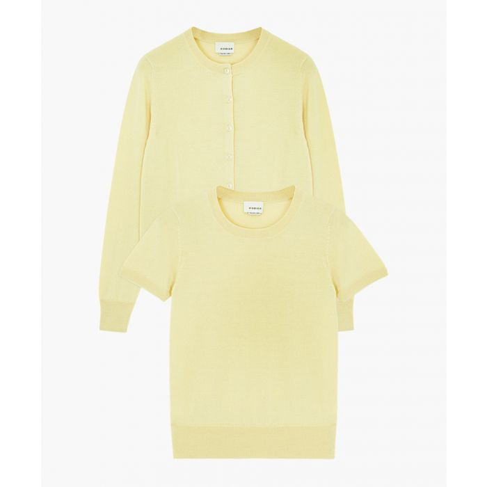 Image for 2pc Yellow cashmere and cotton top set