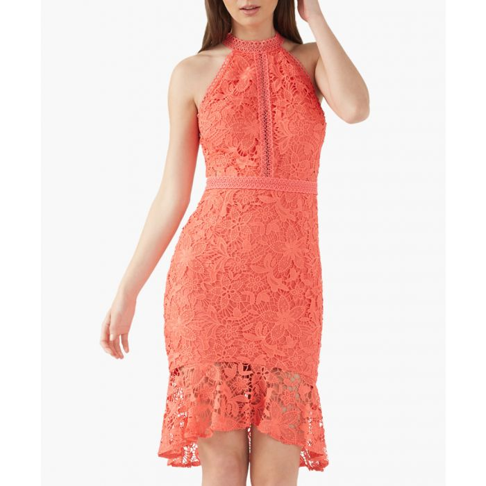 Image for Coral high neck bodycon dress
