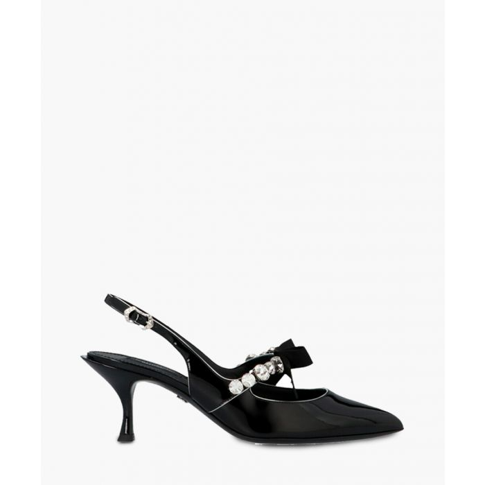 Image for Lori black leather embellished slingback pumps