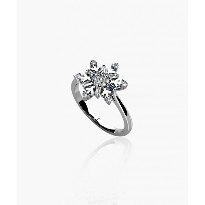 Image for 9k white gold 0.33ct diamond snowflake ring