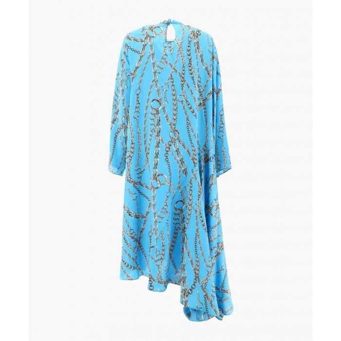 Image for Multi-coloured silk chain print asymmetric dress