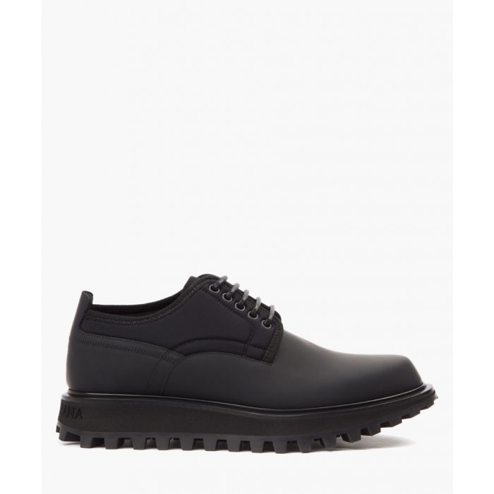 Image for Black neoprene and calfskin derby shoes