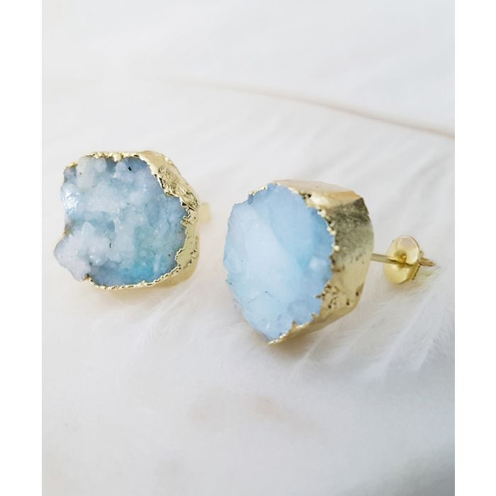 Image for 18k gold-plated and druzy earrings