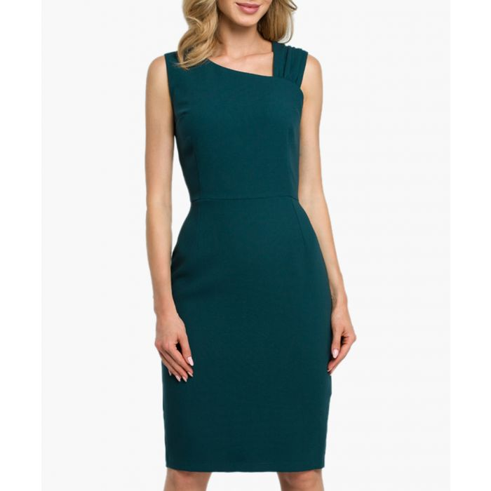 Image for Green asymmetric neckline fitted dress