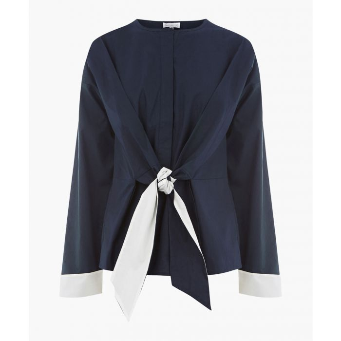 Image for Navy contrast tie cotton top