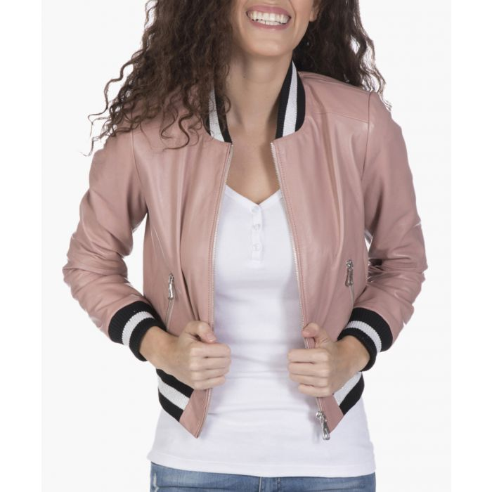 Image for Beige leather bomber jacket