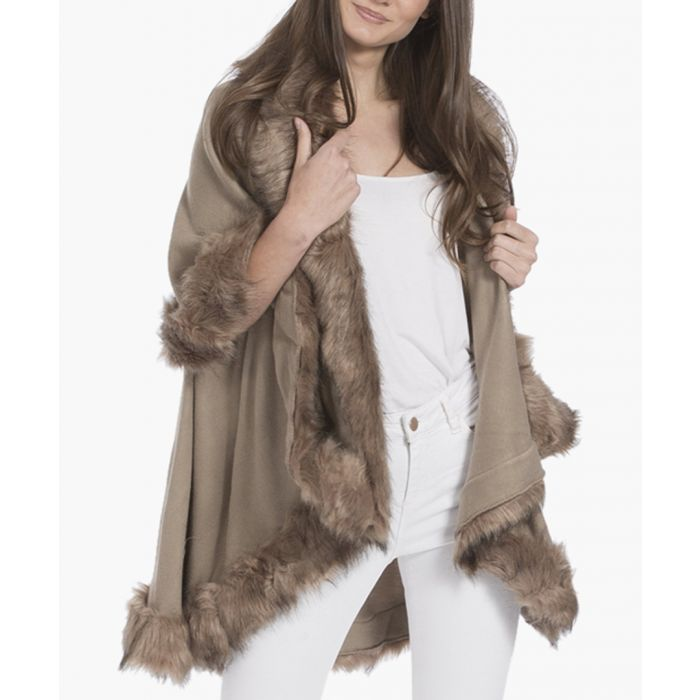 Image for Mocha knitted luxury faux fur cape