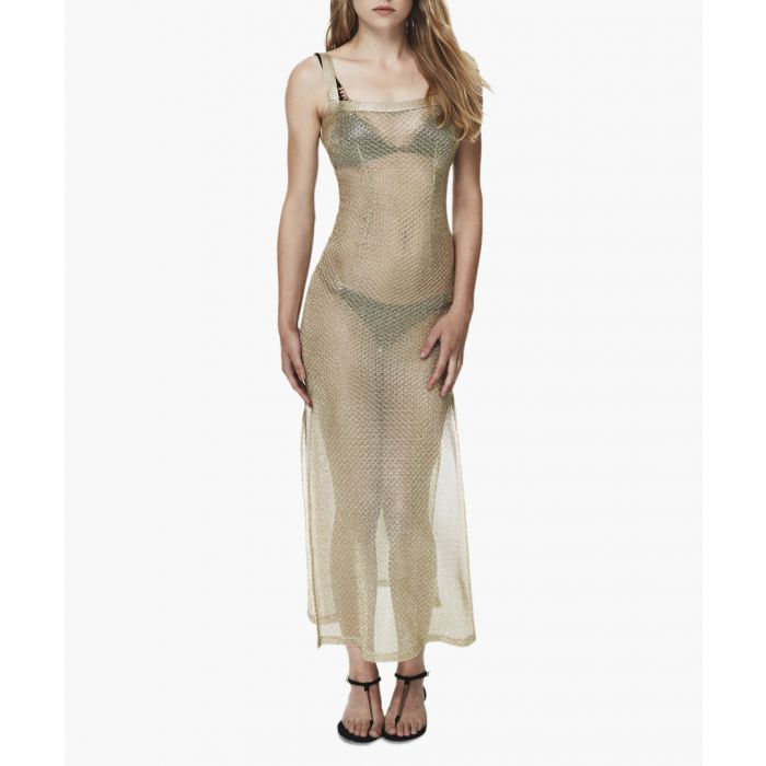 Image for Gold-tone mesh cover-up maxi dress