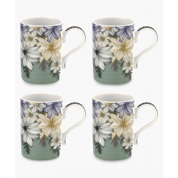 Image for 4pc Atrium floral mug 12oz