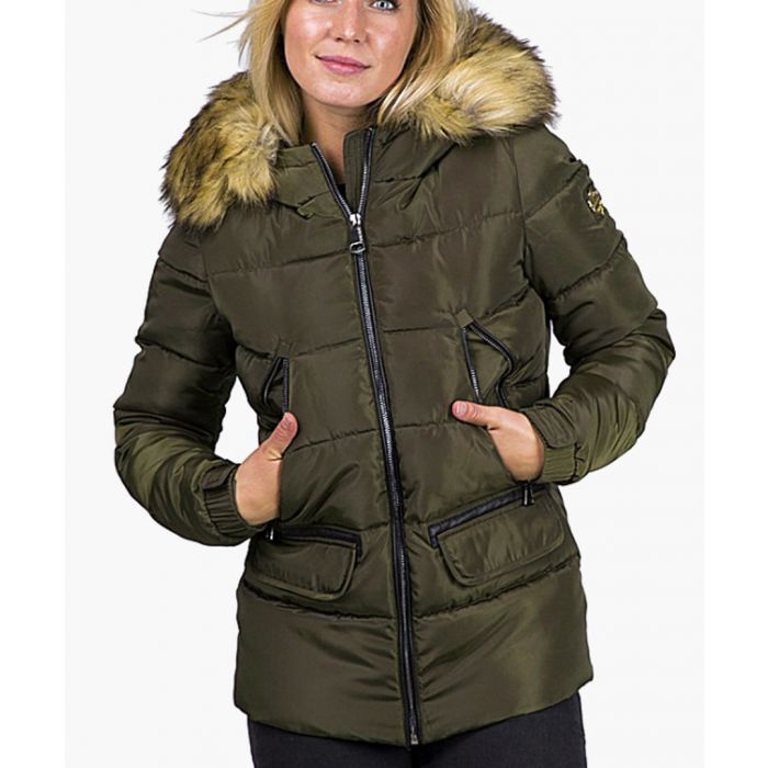 Image for Khaki quilted shell and faux fur hood puffer jacket