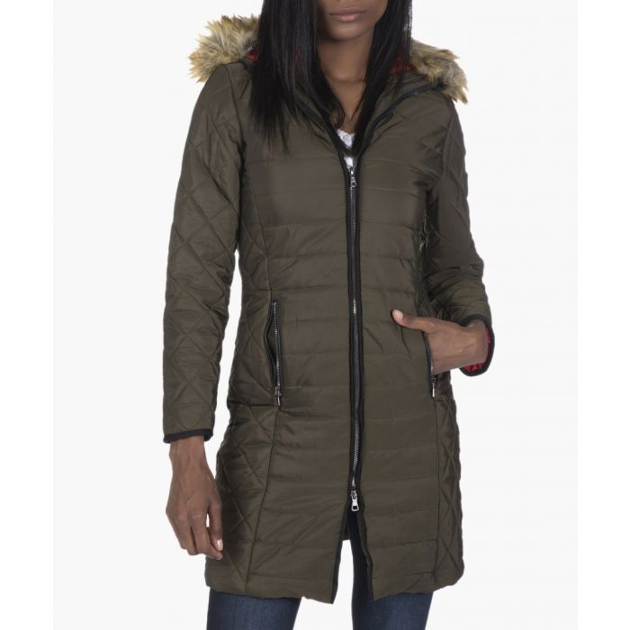 Image for Khaki green quilted coat
