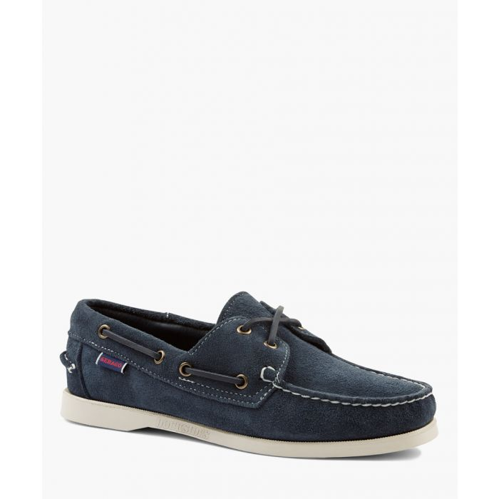 Image for Dockside Portland blue leather boat shoes