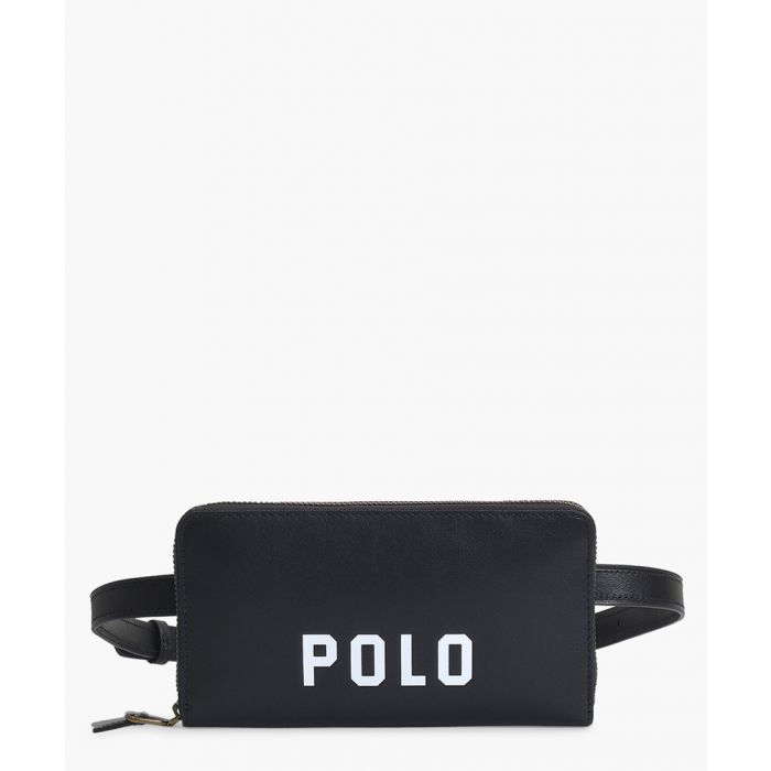 Image for Black leather logo belt bag
