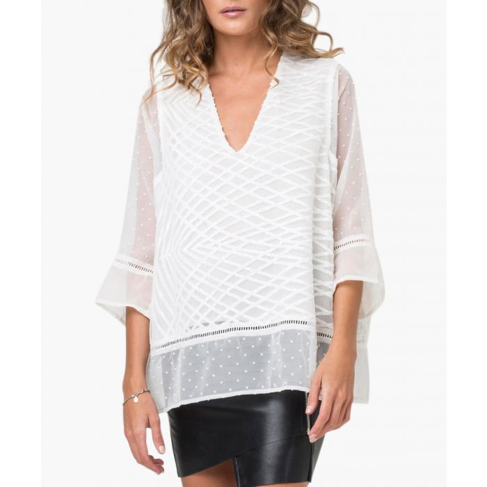 Image for Pulse white embroidered sheer blouse