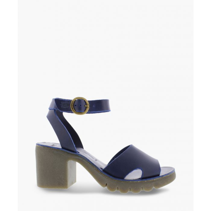 Image for Blue leather block heel sandals