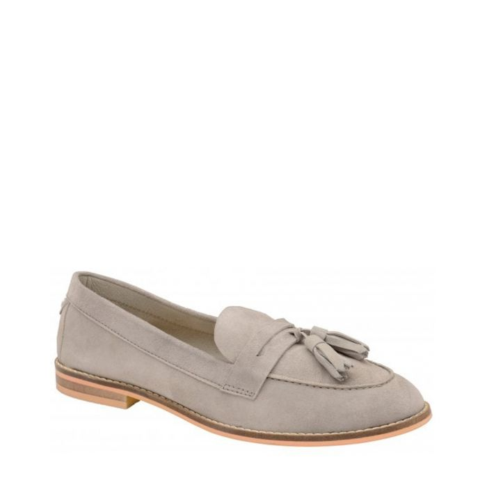Image for Grey suede tassel loafers