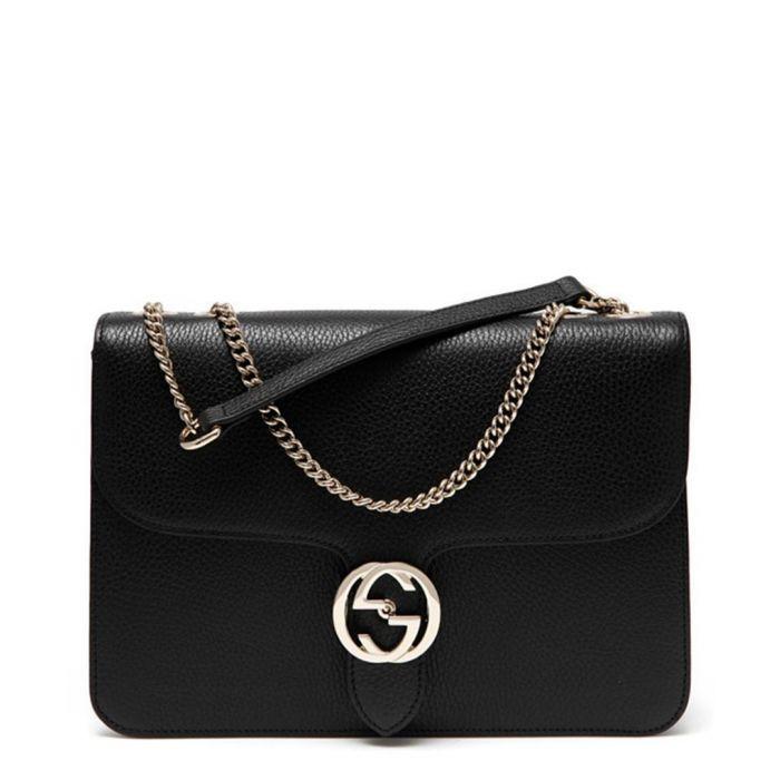Image for Black interlocking GG shoulder bag