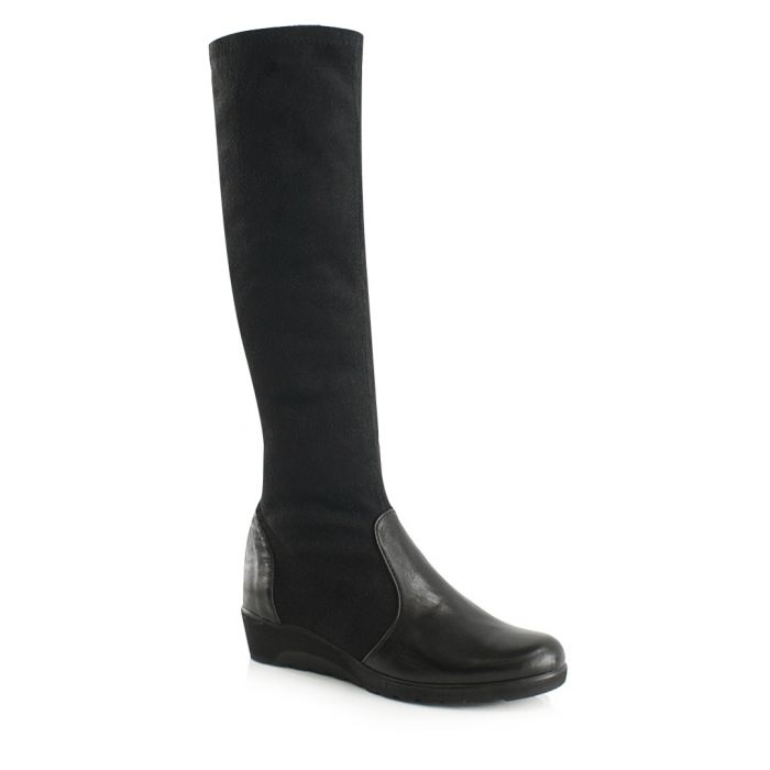 Image for Black leather knee-high boots