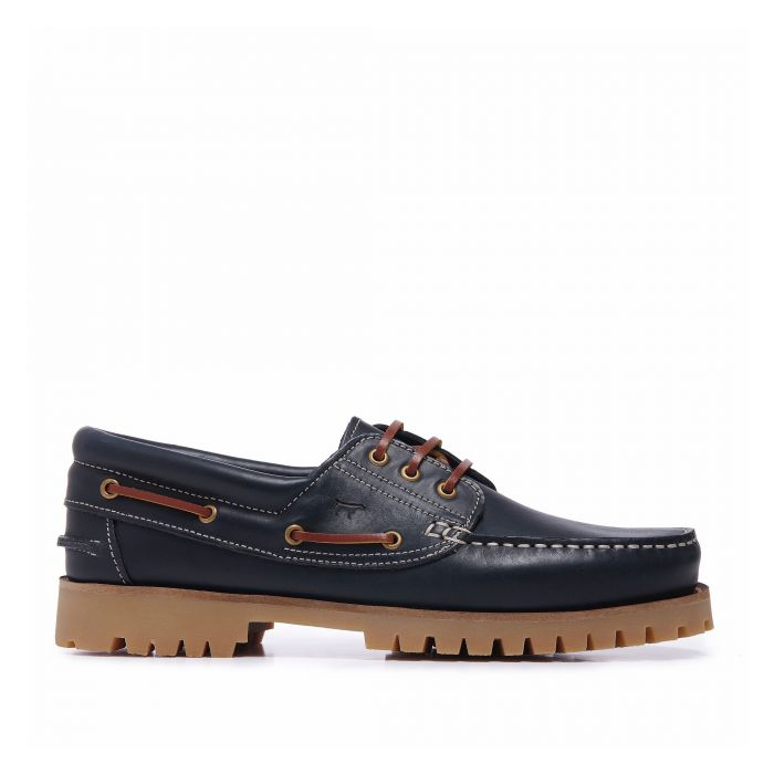 Image for Castellanísimos Leather Navy Blue Moccasins Boat Shoes For Men