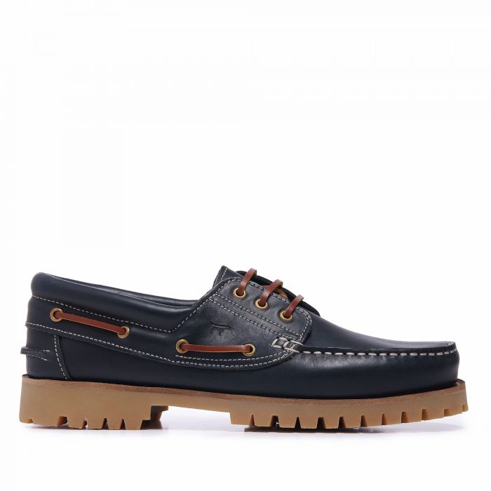 Image for Navy blue leather boat shoes