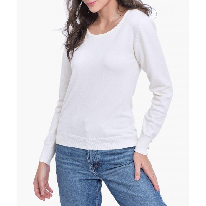 Image for White cashmere blend jumper
