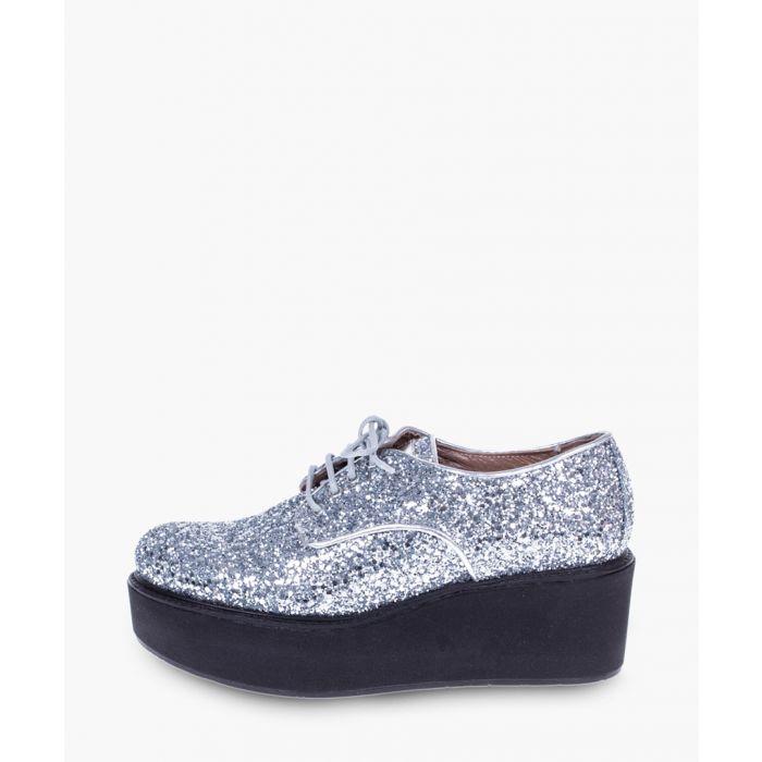 Image for Sliver-tone platform slip-on shoes