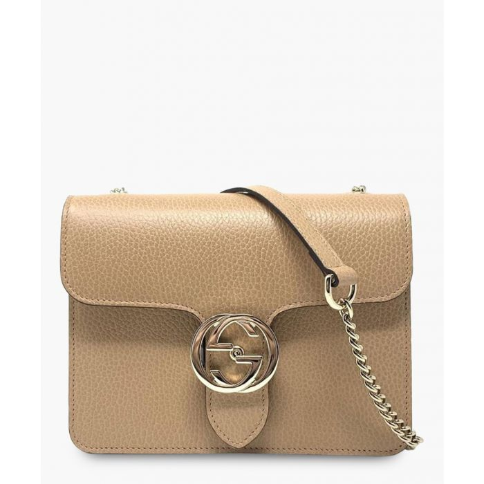 Image for Beige leather interlocking GG shoulder bag
