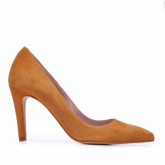 Image for Eva López Shoes Zapatos Salones Marrones con Tacón Alto de Piel