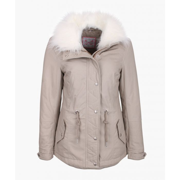 Image for Sand faux fur hooded coat