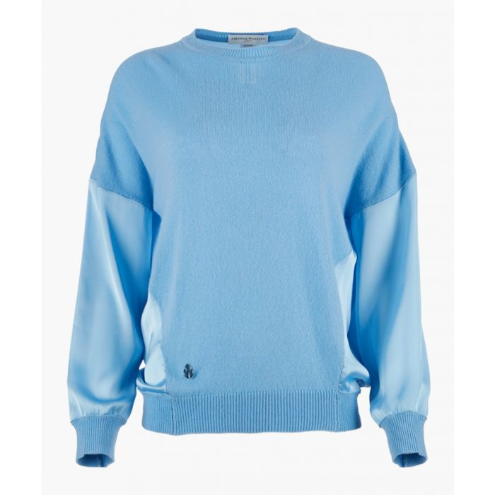 Image for Blue cashmere blend knit top