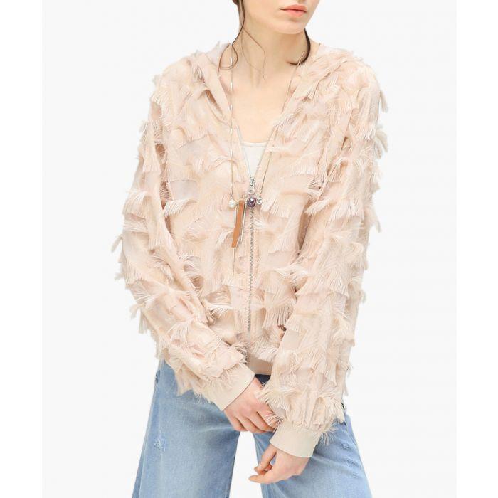 Image for Nude textured zip-up jacket