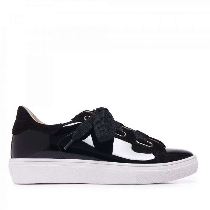 Image for Womens black leather trainers