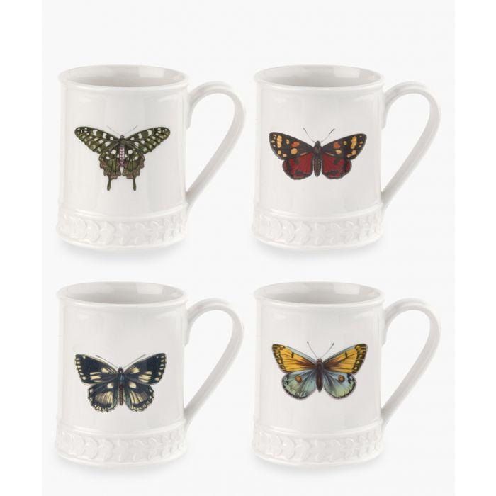Image for 4pc Botanic Garden Harmony white butterfly tankard set