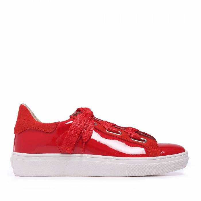 Image for Womens red leather trainers