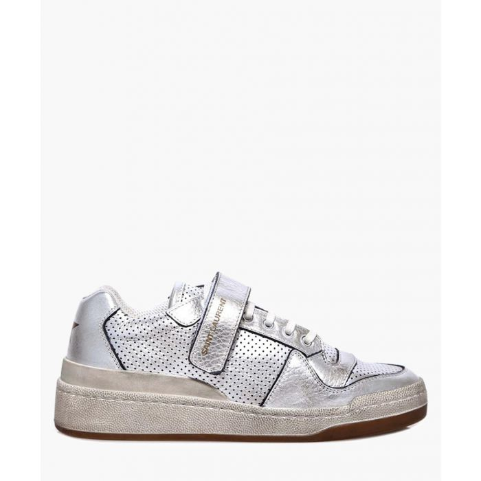 Image for SL24 silver-tone metallic leather trainers