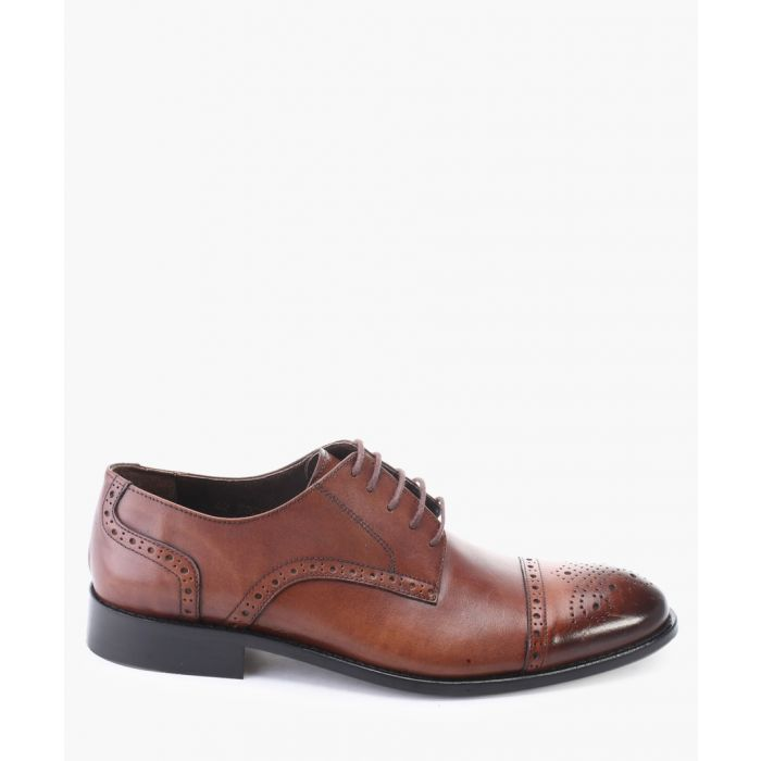 Image for Brown leather derby brogue toe cap shoes