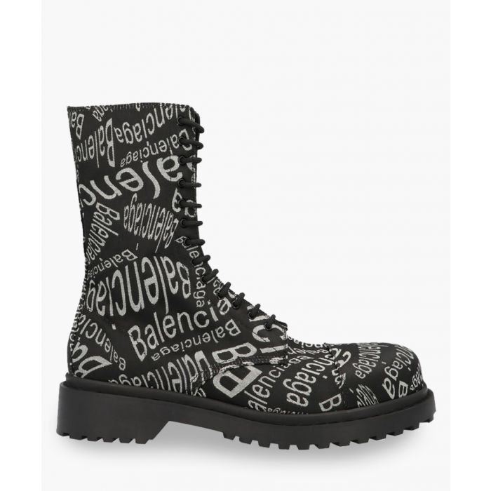 Image for Black logo wave lace-up boots