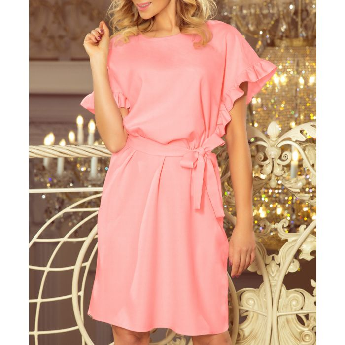 Image for pale pink waist-tie mini dress