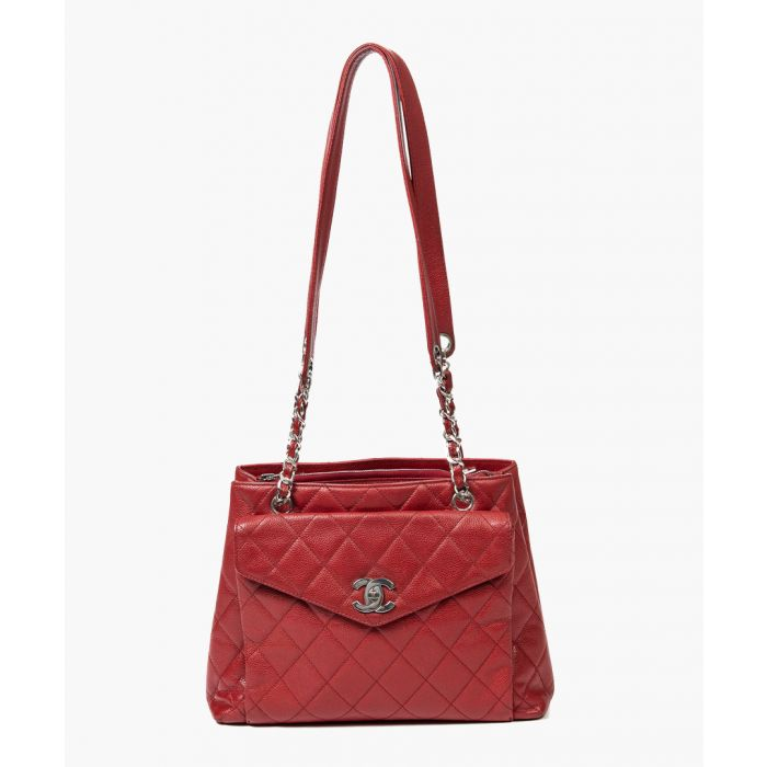 Image for Vintage red zip-up front turnlock tote