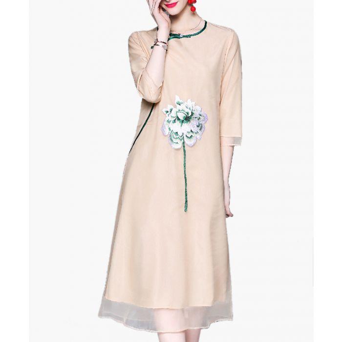 Image for Beige flower sheer layer dress